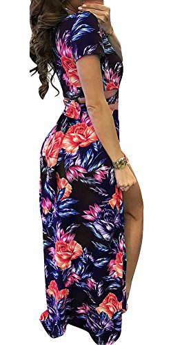 Sexy Maxi V Printed Neck Floral Slit Dress Blue Side Lora Two Piece Women's Aro EwqPaH