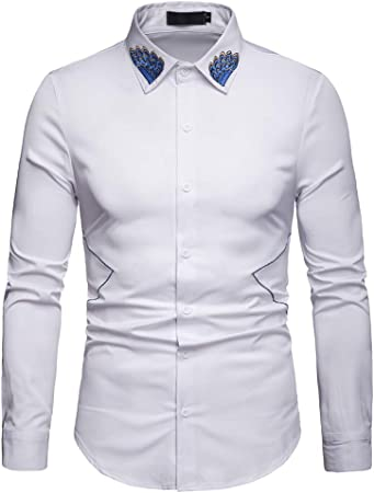 Camisa Bordada de Manga Larga para Hombre Slim Fit Casual Camisas con Botones,B,L: Amazon.es: Hogar