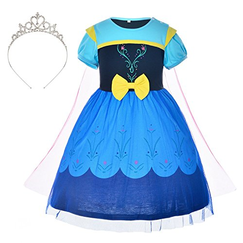Pincess Anna Dress Up Costume for Toddler Girls with Tiara 5-6 Years (5T 6T)