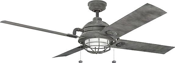 Kichler 310136WZC, Ceiling Fan Weathered Zinc 65 Outdoor Ceiling Fan with Light