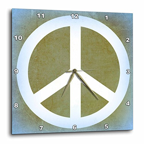 3dRose Earth Green Sky Blue Peace Sign- Inspirational Art – Wall Clock, 13 by 13-Inch DPP_40221_2