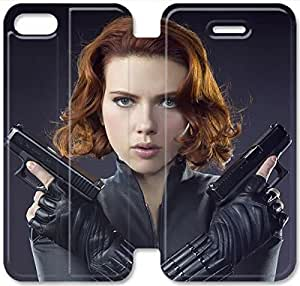 Screen Protection Phone Cases Black Widow-8 iPhone 4 4S Leather Flip Case