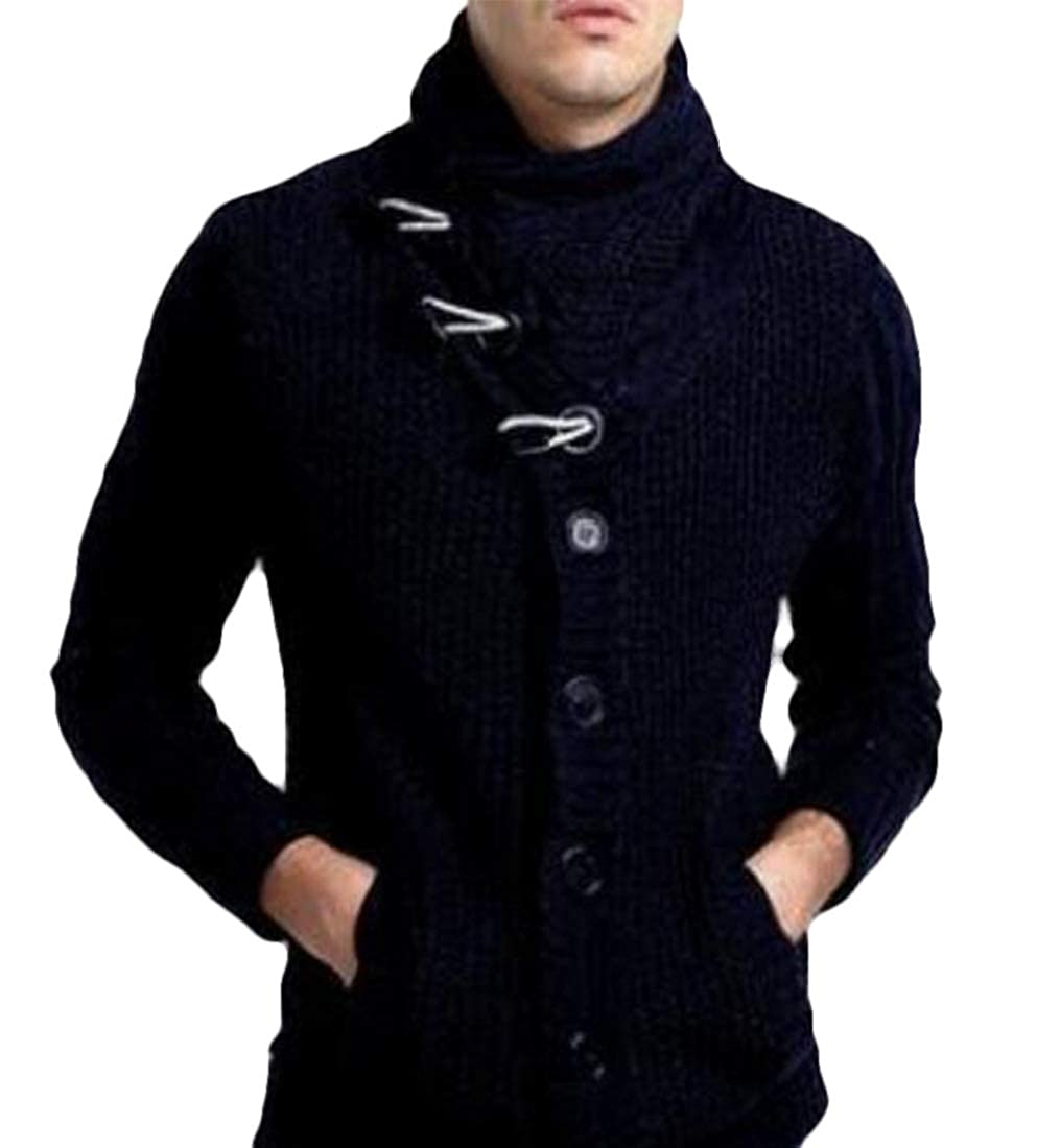MU2M Men Knit Solid Color Pullover Thickened Turtle Neck Sweater