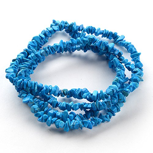 iSTONE 1 Strand (32inches) of Real Turquoise Natural Gemstone Chips Beads. Blue Color, Wholesale Price. Prepared (Genuine Turquoise Chip)