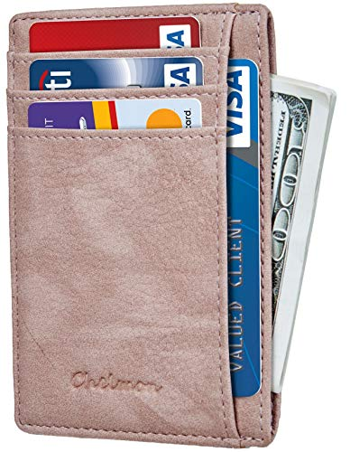 Chelmon Slim Wallet RFID Front Pocket Wallet Minimalist Secure Thin Credit Card Holder (Vinti Pink Champagne)