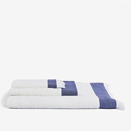 Air Home - Juego de 3 toallas Azul/Blanco, Tamaño Baño/Lavabo/