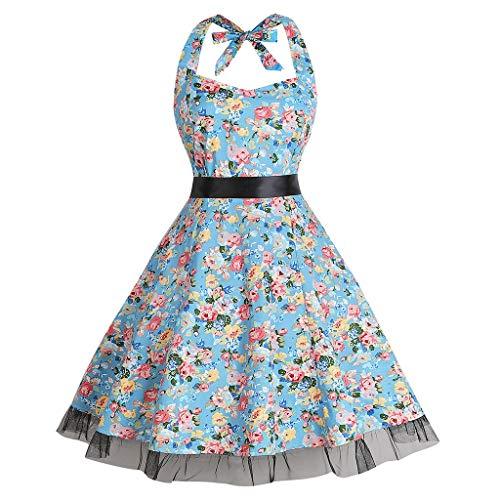 Women's Vintage Dress 1950s Retro Sleeveless Halter Print Evening Party Prom Swing Romantic Casual Dress Light Blue]()