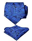 men's paisley floral tie handkerchief wedding woven necktie set, royal blue