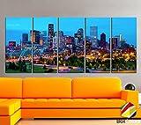 Original by BoxColors XLARGE 30''x 70'' 5 Panels 30''x14'' Ea Art Canvas Print Denver skyline light buildings Multicolor Wall Home Office decor ( framed 1.5'' depth)