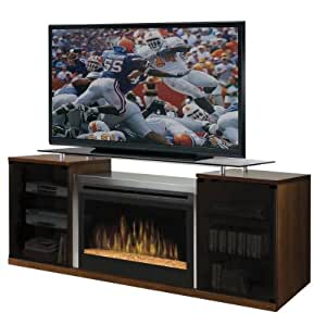 Dimplex Symphony Media Marana TV Stand with Electric Fireplace in Cherry - Glass Ember Bed