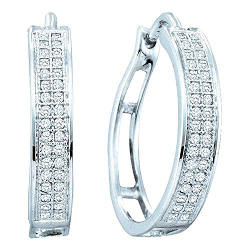 10k Yellow OR White Gold Round Diamond Pave Set Hoop Huggie Earrings – 17mm Height 4mm Width 1 5 cttw