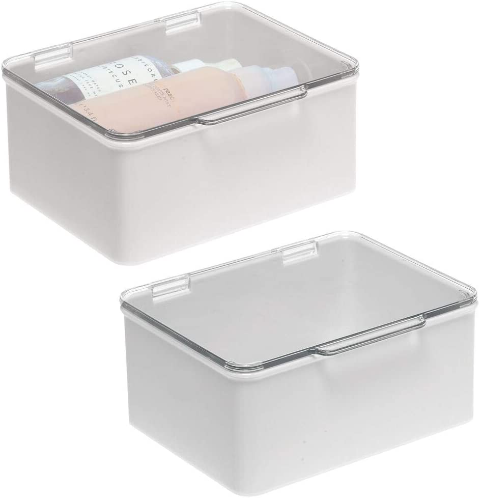 mDesign Stackable Bathroom Vanity Countertop Storage Cosmetic Organizer Box with Hinged Lid for Makeup, Beauty, Hair, Nail Supplies – 2 Pack – Light Gray Clear