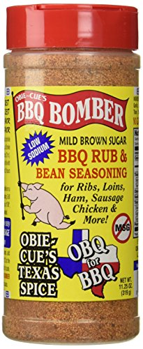 Dry Brown Sugar - Obie-Cue's BBQ Bomber, Mild Brown Sugar Dry Rub & Bean Seasoning (11.25 oz)