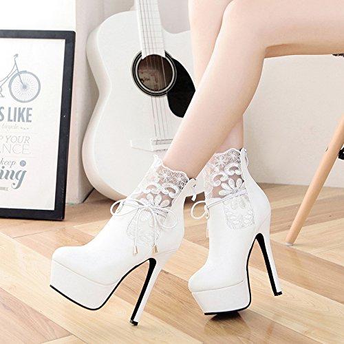 khskx de otoño e invierno guantes con Altas de tacón Moderno Mujeres Corto Botas Modernas puntas bien talón Agua densas Botas High Boots Color Blanco blanco