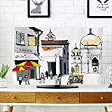 Auraisehome tv dust Cover Drawn Illustration of Old Singapore Traditional Building People Umbrellas Travel Multicolor Dust Resistant Television Protector W19 x H30 INCH/TV 32''