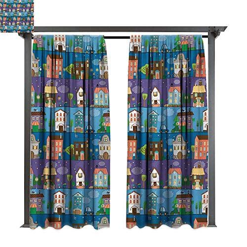 bybyhome Extra Wide Outdoor Curtain Urban Hand Drawn Style Colorful Townhouses City Architecture Twilight Trees Cars and Owls W72 xL108 Suitable for Front Porch,pergola,Cabana,Covered Patio