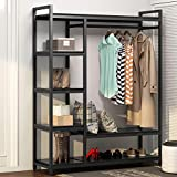 home depot closet organizer LITTLE TREE Free -Standing Closet Organizer,Heavy Duty Closet Storage with 6 Shelves and Hanging Bar, Large Clothes Storage & Standing Garmen Rack,Black