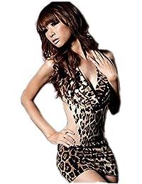 Woman Sexy Animal Leopard Print Mini Dress Halter Lingerie Sexy Dress