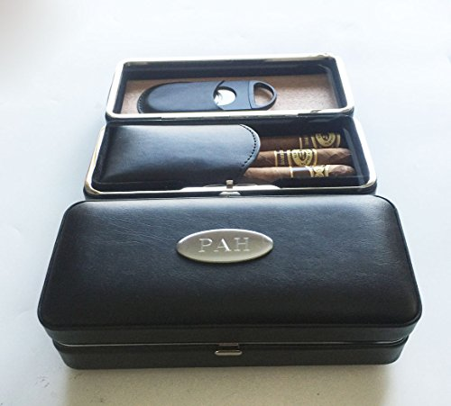 One Personalized Engraved Folding Cigar Case & Cigar Cutter -Anniversary gift -Gift for him , for men for $<!--$39.00-->