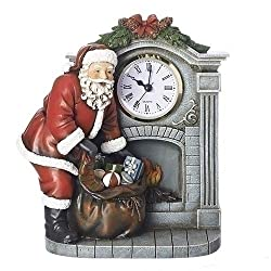 Santa Claus By Fireplace Mantel 8.25 inch Resin Stone Holiday Clock Figurine