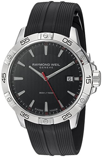 (Raymond Weil Men's Tango Stainless Steel Swiss-Quartz Watch with Rubber Strap, Black, 19 (Model: 8160-SR2-20001))