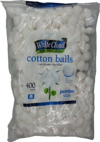 White Cloud Cotton Balls, Large Jumbo Size, 400 Count Package, 1 Pack (Includes 400 Big Plus Size Jumbo Cotton Balls Total) -