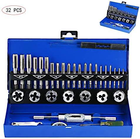 GMKD 32 PC-Tap und Die Set, metrischen Tap Die Schraubengewinde Werkzeugbau mit Aufbewahrungskoffer, Performance Threading-System Tap und Die Set zum Schneiden Außen- und Innengewinde