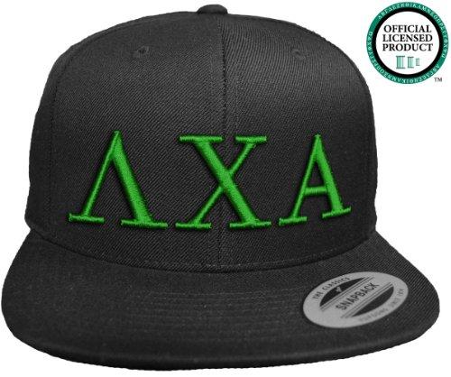 LAMBDA CHI ALPHA Flat Brim Snapback Hat Green Letters / Lambda Chi   L Chi   Fraternity Cap