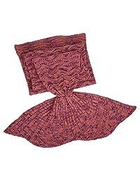 Elfremore Mermaid knitted blanket, Fish Tail Sofa Sleeping Bag Seatail Blanket