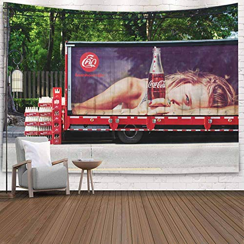 SOAUTY Big Tapestry, Tapestry Wall Hangings 80X60Inch Thailand June Advertising Truck Living Room Bedroom Thanksgiving Christmas Halloween Day Art Tapestry Wall Covering Home Décor,Ivory Red
