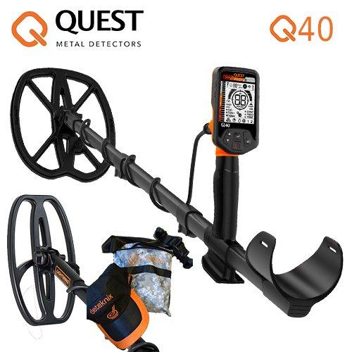 Quest Q40Q 40Combo Metal Detector cercametalli Plate Bag Gold Coins New