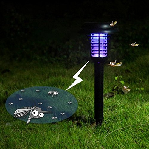 Labu Store Solar Insect Killer Mosquito Lamp White Light Purple Outdoor Lawn Led Electronic Mosquito Lamp by Labu Store