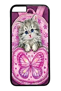 Backpack Kitty PC Case Cover for iphone 6 plus 5.5 inch Black