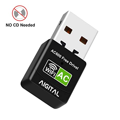 USB WiFi Adapter for PC, 600Mbps Dual Band No CD ROM Required WiFi Dongle,  Mini USB Wireless Adapter for Desktop/Laptop,Support Windows10/8/7/Vista/XP
