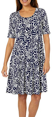 Sami & Jo Womens Swirl Print Panel Dress Small Navy Blue/White