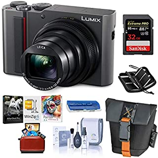 Panasonic Lumix ZS200 4K Digital Camera, 20.1 Megapixel, 15X Zoom Leica Lens, DC-ZS200S Silver, Bundle with Case + 32GB SD Card + Corel Mac Software Kit + SD Card Case + Cleaning Kit + Card Reader