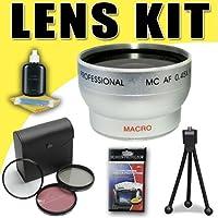 0.45X Wide Angle Lens and 3 Piece Filter Kit for Canon HFM30 HFM31 HFM32 HFM300 HF200 HG21 HG11 HF20 HF100 Camcorders DavisMAX Accessory Bundle