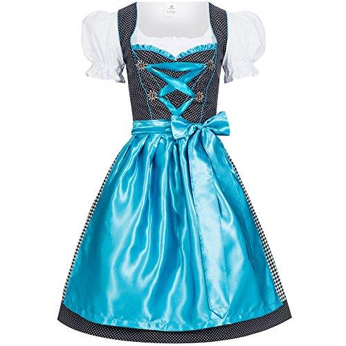 Women's German Dirndl Dress Costumes for Bavarian Oktoberfest Carnival Halloween Karla Light Blue 44