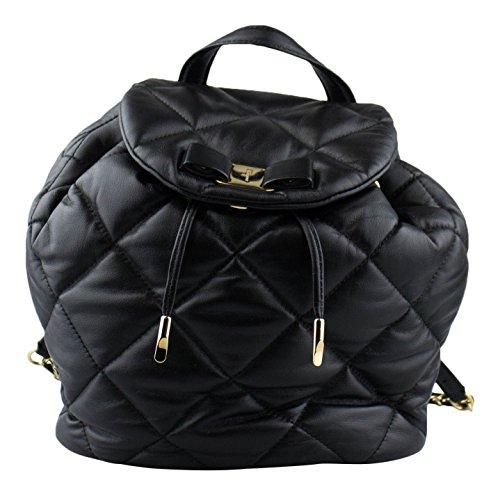 SALVATORE FERRAGAMO Black Quilted Leather Vara Backpack (Backpack Ferragamo)