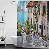 Shower Curtains Pink hehomecocos Lakehouse Decor Collection,Old Houses in a Small Town Near The Sea Flower Pots at Windows Oil Painting,Blue Ivory Red Green Orange W48 x L72,Shower Curtain for Kids