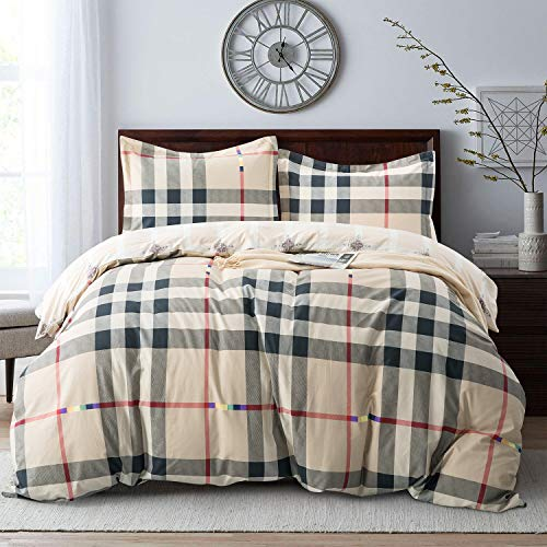Villa Feel Classic Checker Duvet Cover Queen-100% Egyptian Cotton Bedding,Gingham Plaid Printed,3 Piece Set Percale Weave with Zipper Closure and Corner Ties(Classic - Duvet Dimensions Cover Queen
