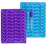 Product review for BARRETLGQ 2 Pack Silicone Gummy Worm Mold With 2 Droppers - 40 Cavity- BPA Free FDA Approved Gummi Candy & Gelatin Maker Fishing Lure (Blue and Purple)