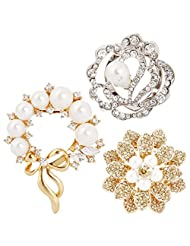 BMC Womens 3pc Clear Rhinestone Pearl Fashion Mixed Metal Alloy Brooch Pins - Floral Lover Collection
