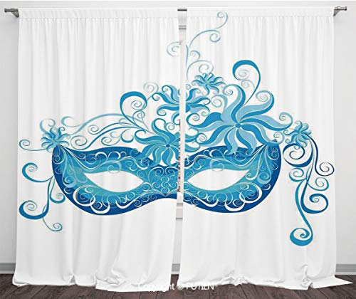 (Satin Window Drapes Curtains [ Masquerade,Venetian Style Mask Majestic Impersonating Enjoying Halloween Night Theme,Blue and Sky Blue ] Window Curtain Window Drapes for Living Room Bedroom Dorm Room)
