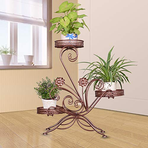 - YMXLJJ 3-Storey Plant Frame Iron Art Creative Flower Basin Frame Multi-Function Metal Garden Plant Display Stand for Indoor and Outdoor Balcony Living Room,Brass