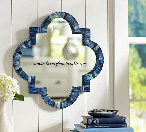 Quatrefoil Bone Inlay Mirror In Natural (Dark Blue  Bone)