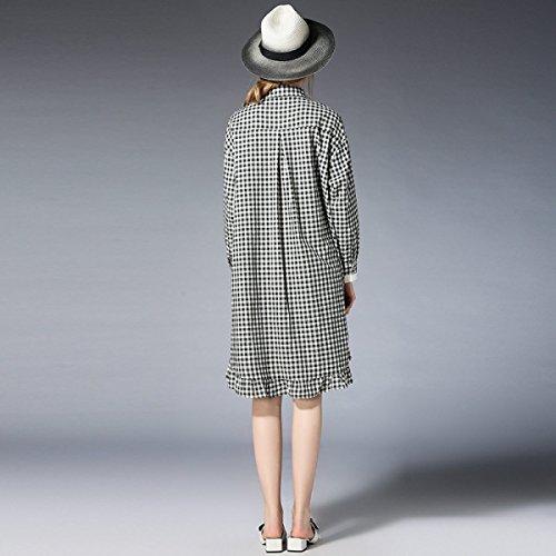 Cuadros De De Y Costura De A Blanco Sueltos Gran Mujer Negro EN Camisa Tamaño CHLXI De ISHxAA