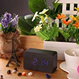 Color Black with Blue LED USB DC6V Relogio De Mesa Electronic LED Alarm Wooden Clock with Temperature Display Voice Digital Desktop Wood Despertador