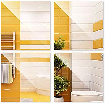 SunshineFace para decoraci/ón del hogar autoadhesivas 4 unidades 30 x 30 cm Pegatinas de pared con espejo impermeables