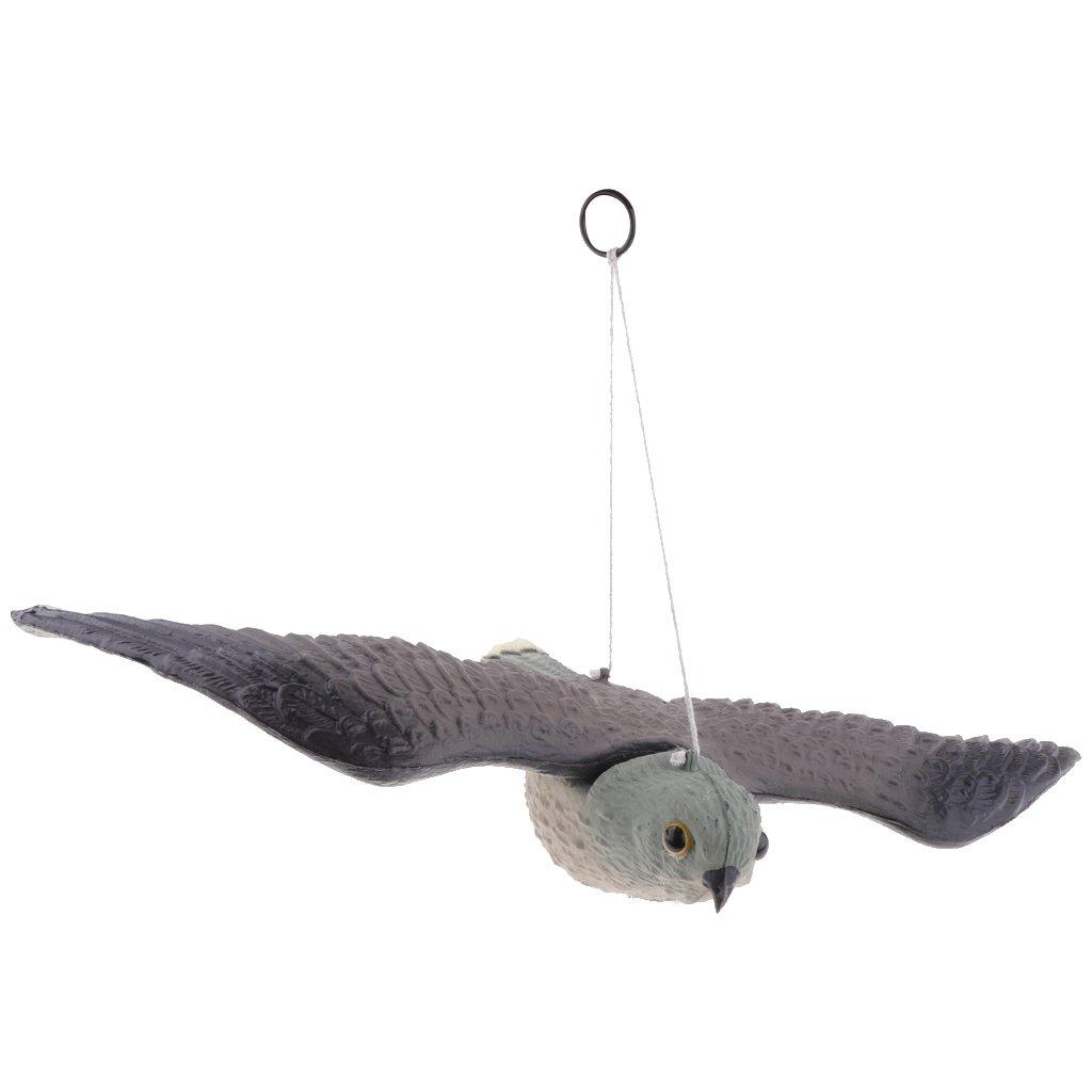 non-brand MagiDeal Fliegend Raubvogel Falke Lebensgroß Hängend Vogelschreck Vogelscheuche für Balkon Rasen Garten, 53 x 36x 9cm